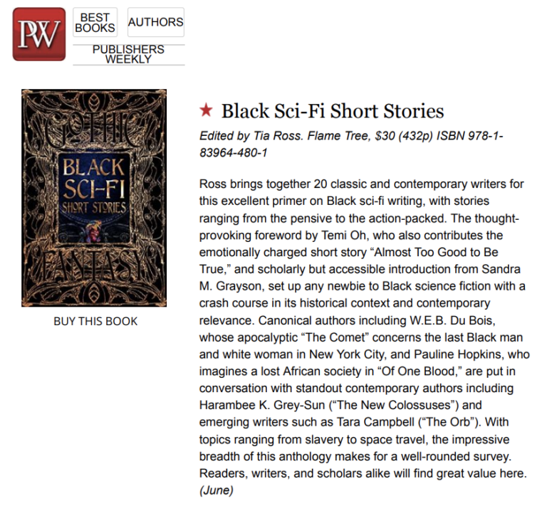 """Publishers Weekly Gives """"My"""" Black SciFi Short Stories Anthology Starred Review"""